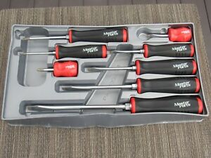 Snap On Master Parts Red Black Soft Grip Handle Screwdriver Set 8 Piece Sgdx80