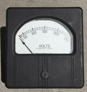 Westinghouse Vintage Black Analog Panel Meter Volts Ac