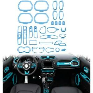 31x Light Blue Interior Accessories Part Decoration Cover Trim For Jeep Renegade