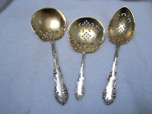 Art Nouveau Old English Towle Sterling Silver Gold 3 Pc Serving Spoons C1893