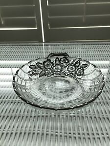 Vintage Floral Silver Overlay Clear Glass Bowl Candy Dish 6 Diameter