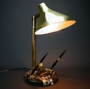 Mcm Perpetual Calendar Brass Desk Lamp Dual Pen Holder W marble Base Mid Century
