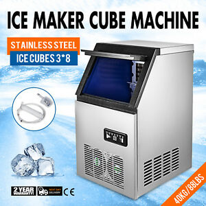 Ice Cube Making Machine 3 8 Cubes 40kg 90lbs 24h Stainless Steel Ice Cube Maker