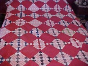 Vintage Hand Made Maroon Quilt Checkered 1920s