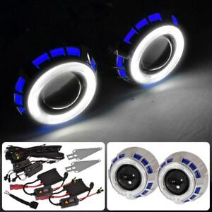 Dual Halo Angel Eye Retrofit Projector Headlights Hid Kit Round Blue White