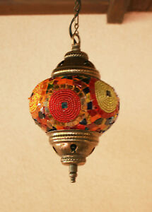 Chandelier Handmade Turkish Mosaic Hanging Lamp Light Ceiling Stained Glass 02
