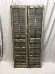 Pair Antique House Window Wood Louvered Shutters 59x14 Shabby Vtg 376 18e