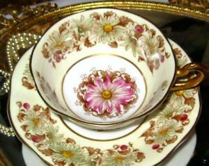 Tea Cup And Saucer Daisy Floral Chintzy Yellow Rosina Bone China England