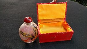 Asian Oriental Perfume Snuff Bottle Floral Birds Reverse Painted Both Sides