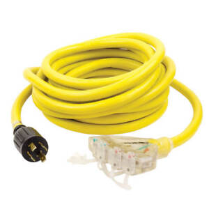 Reliance Pcy325r 25 foot 30 amp 4 way Yellow Generator Splitter Power Cord