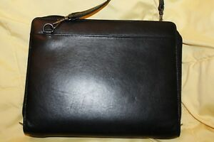 Desk Classic 1 Rings Black Genuine Leather Planner W Shoulder Strap Day runner
