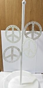 Vintage 1970s White Peace Signed Earrings Display Holder Retro