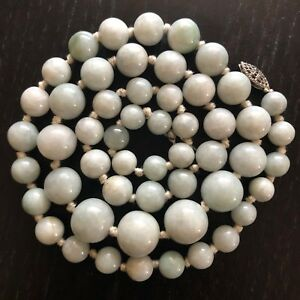 Exquisite Vtg Antique Chinese Carved Green Jadeite Jade Beads Necklace Knots 78g