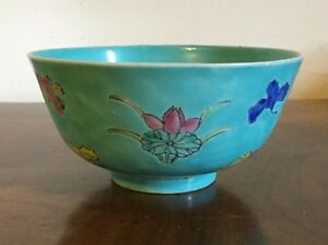 Antique Chinese Export Porcelain Bowl Famille Rose Turquoise 19th Century Tea 3