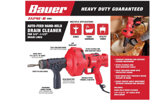 Auto feed Handheld Electric Drain Auger Cleaner Snake 23 Ft Bauer