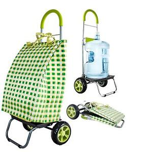 Dbest Products Trolley Dolly Basket Weave Tote Green Shopping Grocery Foldable