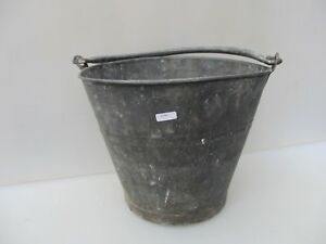 Old Galvanised Steel Bucket Tub Planter Plant Pot Rivets Vintage Galvanised Fire