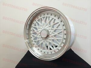 17 Rs Style White Lip Rims Wheels Fits Vw Volkswagen Mk Golf Passat Gli Jetta