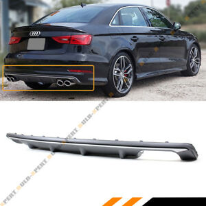 For 2014 2016 Audi A3 4dr Sedan 8v S3 Style Quad Exhaust Rear Bumper Diffuser