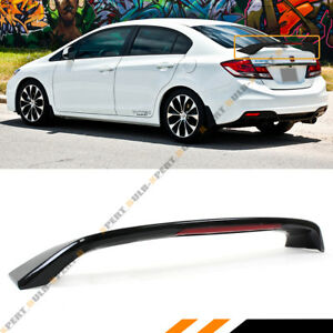 For 2012 15 9th Gen Honda Civic Sedan Si Style Glossy Black Trunk Spoiler W Led