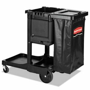 Rubbermaid Executive Janitorial Cleaning Cart Black rcp1861430
