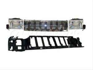 Header Mounting Panel Grille Headlight W bulb 4pc For Jeep Grand Cherokee 93 95