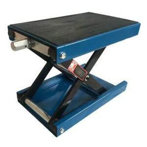 1100lb 9 Wide Deck Motorcycle Center Scissor Lift Jack Hoist Stand Bikes Blue