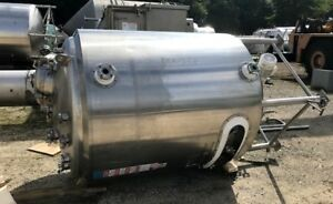 Used 2 500 Liter 660 Gallon Food Grade Stainless Steel Reactor Vessel W Mixer