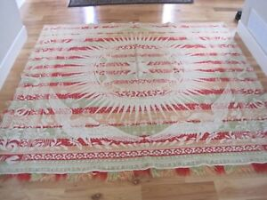 Woven Coverlet Wm Ney Myerstown Pa Red Green Eagle W Fringe 82 X75 Antique