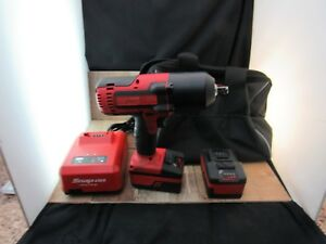 Snap on Ct8850 Cordless 1 2 Impact Wrench Bundle 2 Batteries Charger Bag Used
