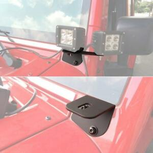 Fit 07 Jeep Jk Windshield Mounting Corner Relocate Brackets Only For Led Light