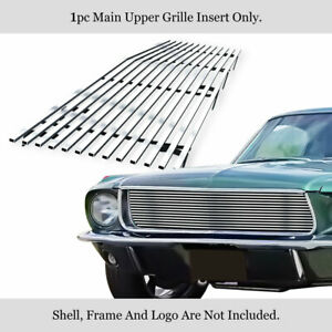 Fits 1967 1968 Ford Mustang Stainless Silver Horizontal Billet Grille Insert