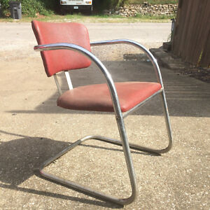 Vintage Art Deco Mcm Mid Century Modern Retro Atomic Red Chrome Chair Desk Arm