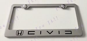 Civic Stainless Steel Metal License Plate Frame Rust Free W Bolt Caps