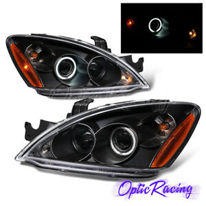 Led Halo For 2003 2007 Mitsubishi Lancer Projector Black Headlights Pair