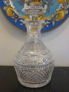 Antique Victorian Diamond Circular And Flowers Cuts Glass Decanter