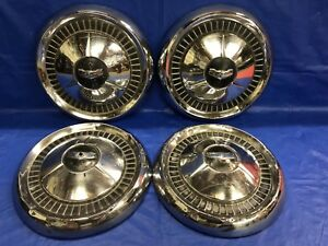 Vintage Set Of 4 1957 Chevrolet Dog Dish Hubcaps Bel Air 210