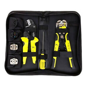 Universal 4 In 1 Ratchet Terminals Crimping Pliers Wire Strippers Tool Kit New