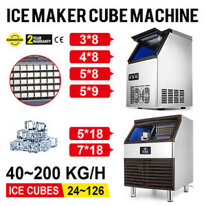 40 200 Kg 24h Commercial Ice Cubes Machine 110v Bakeries Ice Spoon Refrigeration