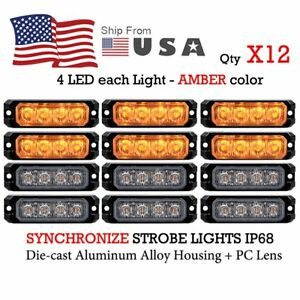 12x Amber 4 led Emergency Hazard Caution Warning Hazard Flash Strobe Sync Lights