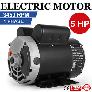 Electric Motor 5 Hp 3450 Rpm Compressor 1 Ph 5 8shaft 230vac Keyed Shaft 2 Pole
