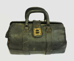 Vintage Antique Leather Doctors Medical Satchel Bag Gold Bond Luggage