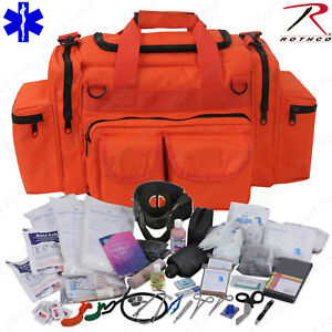 Deluxe Orange Emt ems Medic Bag With Supplies Rothco Emt Medical Trauma Kit