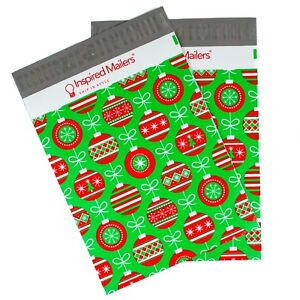 Christmas Ornament Printed Poly Mailers 10x13 Multiple Quantities