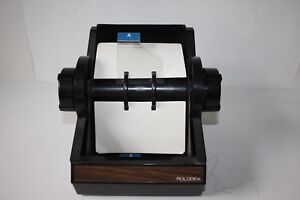 Vintage Rolodex Rotary Black Metal Card File 5350 No Key Euc