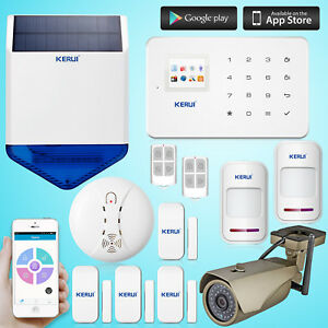Kerui G18 Gsm Sms Home Security Alarm System solar Power Siren outdoor Ip Camera