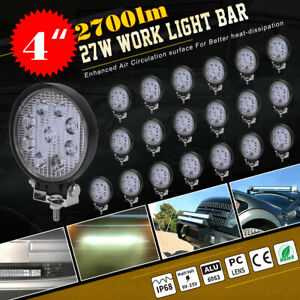 20x 540w Round Flood Led Work Light Bar Offroad Driving Lamp Suv Boat Truck 27w
