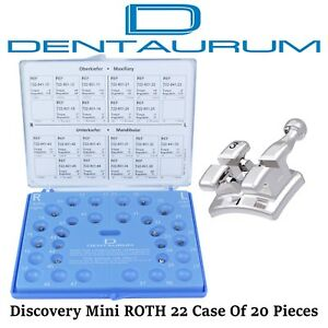 Dental Orthodontic Dentaurum Discovery Metal Mini Brackets Roth 22 20pcs