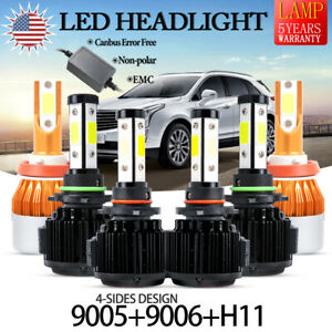 6x 9005 9006 h11 240w 32000lm 8000lm 4 side Led Headlight Kit Hi low Bulb Canbus