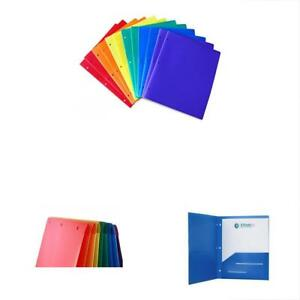 Sale Heavy Duty Plastic 2 Pocket Folder Hole Punched pack Of 12 Folders Colors